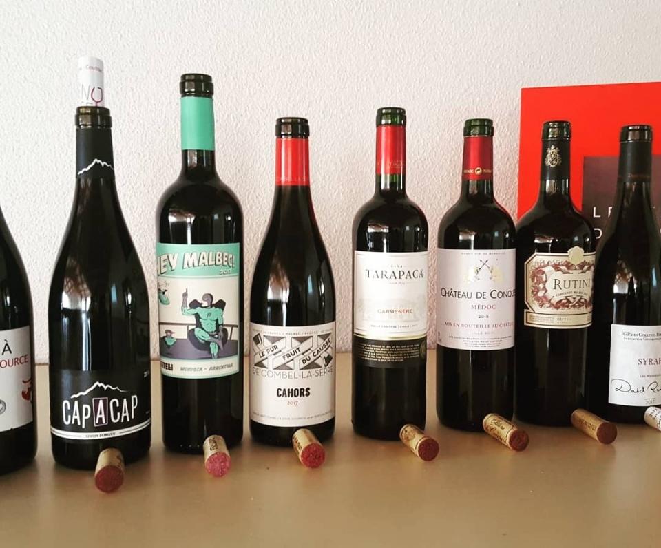dégustation de 8 vins rouges